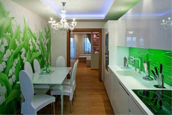 Мебель для длинной кухни фото
